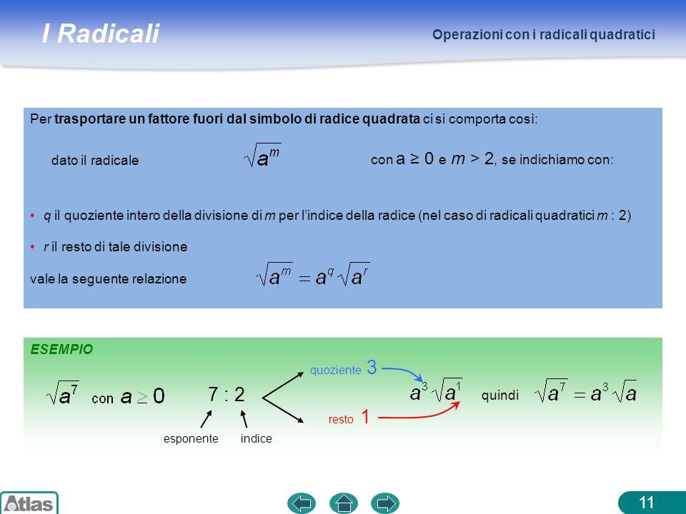 I Radicali Operazioni con i radicali quadratici 11 ESEMPIO quoziente 3 resto 1 q il quoziente intero della divisione di m per lindice della radice (ne
