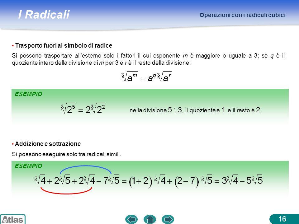 I Radicali ESEMPIO Operazioni con i radicali cubici 16 Trasporto fuori al simbolo di radice ESEMPIO Addizione e sottrazione Si possono eseguire solo t