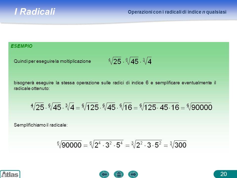 I Radicali Operazioni con i radicali di indice n qualsiasi 20 ESEMPIO bisognerà eseguire la stessa operazione sulle radici di indice 6 e semplificare