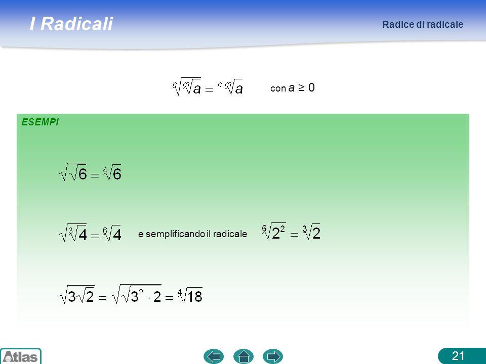I Radicali Radice di radicale 21 ESEMPI con a 0 e semplificando il radicale