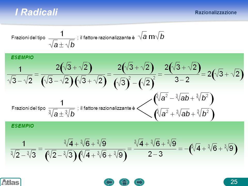 I Radicali Razionalizzazione 25 Frazioni del tipo ; il fattore razionalizzante è ESEMPIO