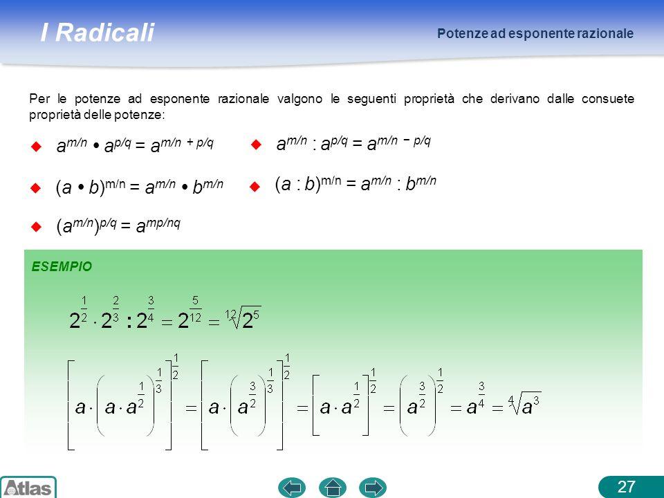 I Radicali Potenze ad esponente razionale 27 Per le potenze ad esponente razionale valgono le seguenti proprietà che derivano dalle consuete proprietà