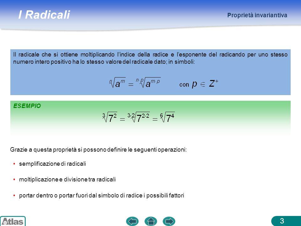 I Radicali Radicali cubici e operazioni con i radicali cubici 14 Operazioni con i radicali cubici ESEMPIO Forma del radicale cubico: Prodotto e quoziente: vale luguaglianza con a > 0 Un segno negativo allinterno di un radicale cubico può essere trasportato allesterno.