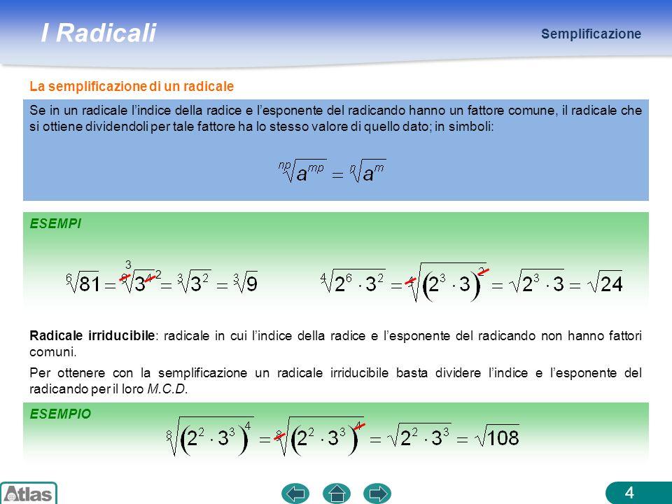 I Radicali ESEMPI Semplificazione 4 La semplificazione di un radicale 3 2 Radicale irriducibile: radicale in cui lindice della radice e lesponente del
