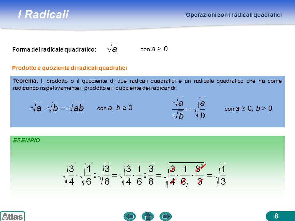 I Radicali Operazioni con i radicali quadratici 8 ESEMPIO Forma del radicale quadratico: con a > 0 Teorema. Il prodotto o il quoziente di due radicali