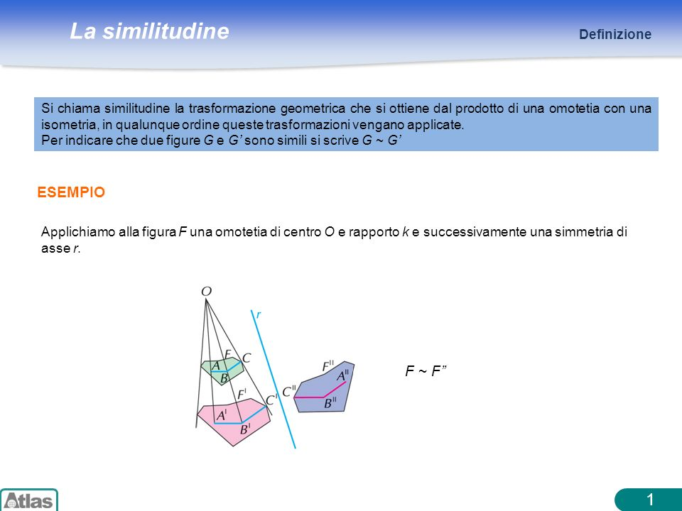 La similitudine 1 Definizione ESEMPIO Si chiama similitudine la trasformazione geometrica che si ottiene dal prodotto di una omotetia con una isometri