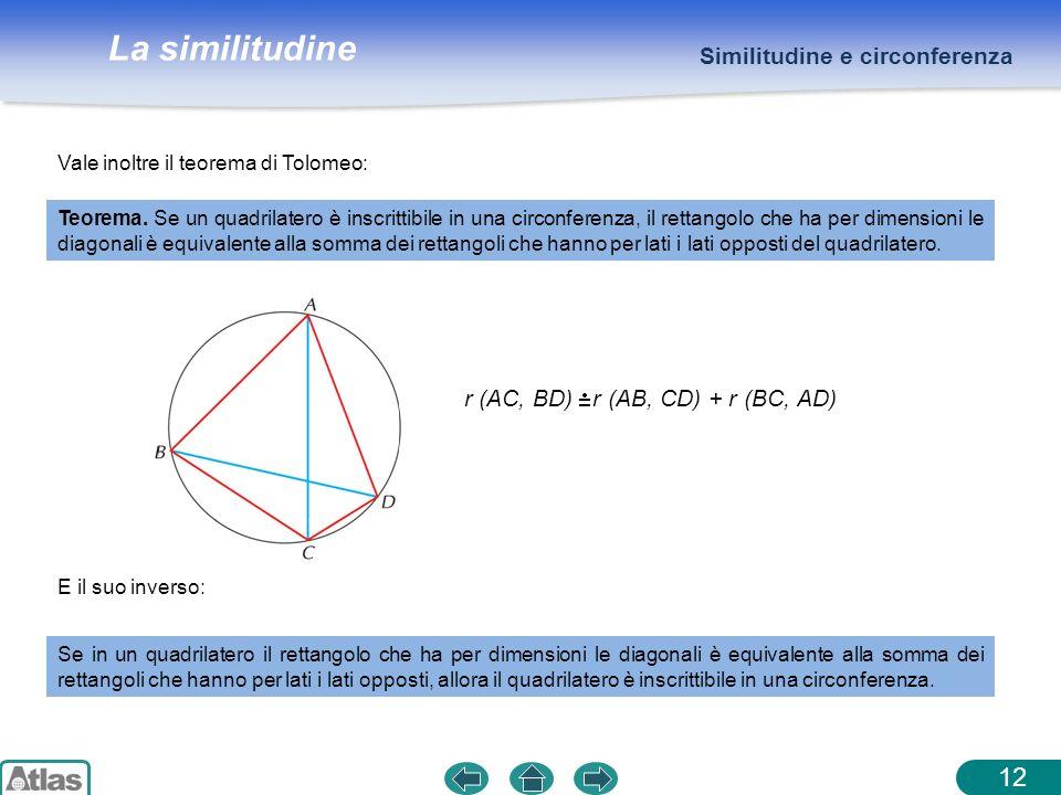 La similitudine 12 Similitudine e circonferenza Vale inoltre il teorema di Tolomeo: E il suo inverso: Se in un quadrilatero il rettangolo che ha per d