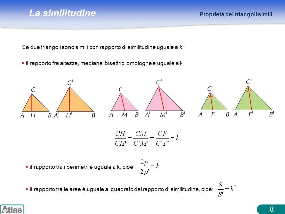 La similitudine 8 Proprietà dei triangoli simili Se due triangoli sono simili con rapporto di similitudine uguale a k: il rapporto fra altezze, median
