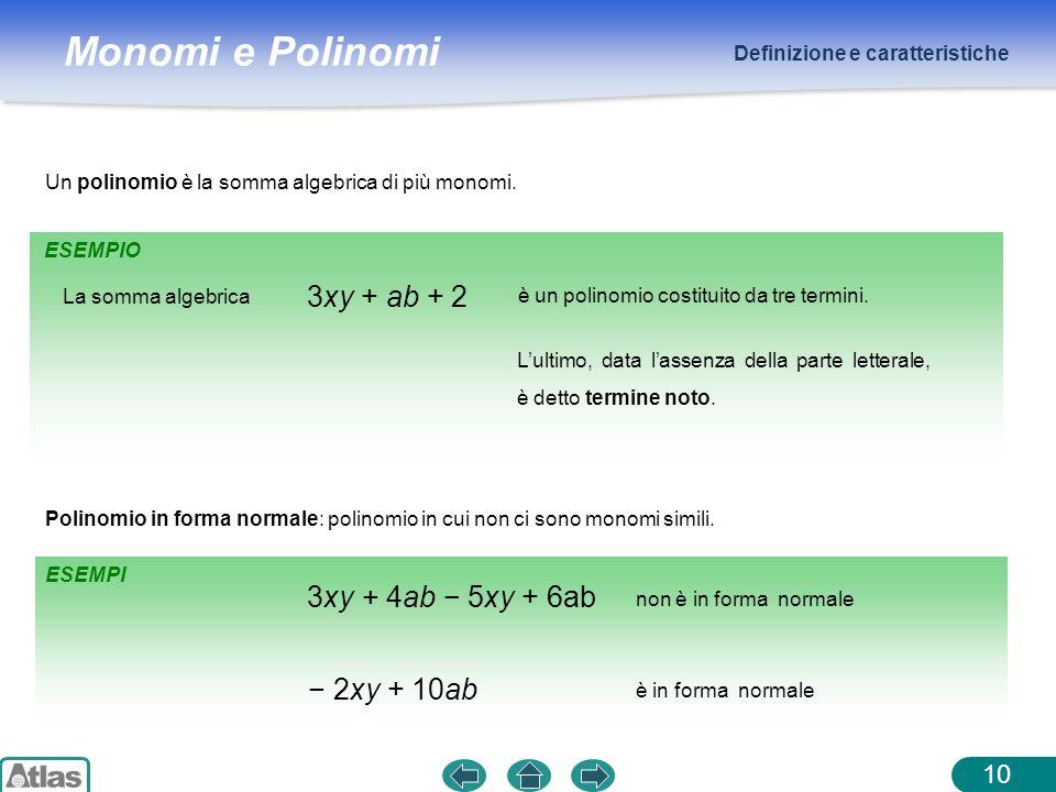 Monomi e Polinomi ESEMPIO Definizione e caratteristiche 10 Un polinomio è la somma algebrica di più monomi. 3xy + ab + 2 Polinomio in forma normale: p