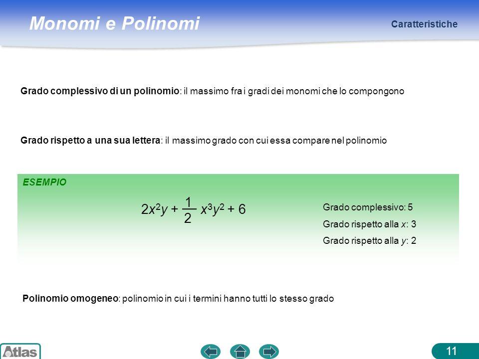 Monomi e Polinomi ESEMPIO Caratteristiche 11 Grado complessivo di un polinomio: il massimo fra i gradi dei monomi che lo compongono Grado complessivo:
