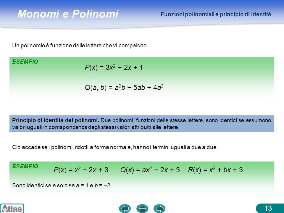 Monomi e Polinomi ESEMPIO Funzioni polinomiali e principio di identità 13 Un polinomio è funzione delle lettere che vi compaiono. P(x) = 3x 2 2x + 1 Q