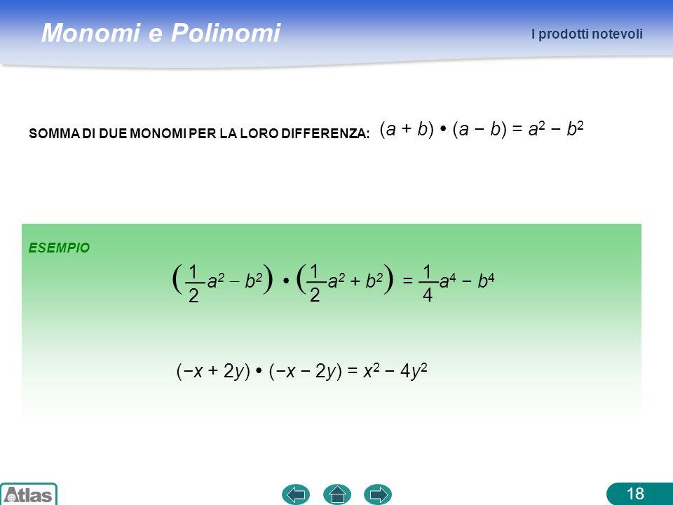Monomi e Polinomi I prodotti notevoli 18 SOMMA DI DUE MONOMI PER LA LORO DIFFERENZA: (a + b) (a b) = a 2 b 2 1 2 ( a 2 b 2 ) ( a 2 + b 2 ) = a 4 b 4 1