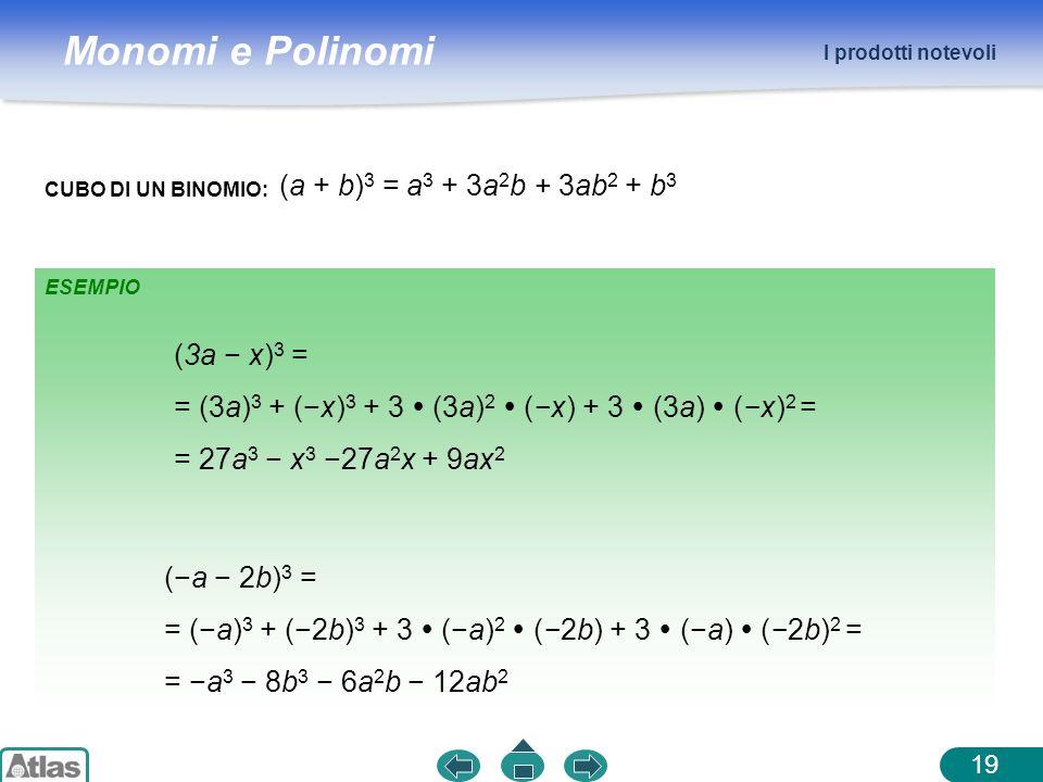 Monomi e Polinomi ESEMPIO I prodotti notevoli 19 CUBO DI UN BINOMIO: (a + b) 3 = a 3 + 3a 2 b + 3ab 2 + b 3 (3a x) 3 = = (3a) 3 + (x) 3 + 3 (3a) 2 (x)