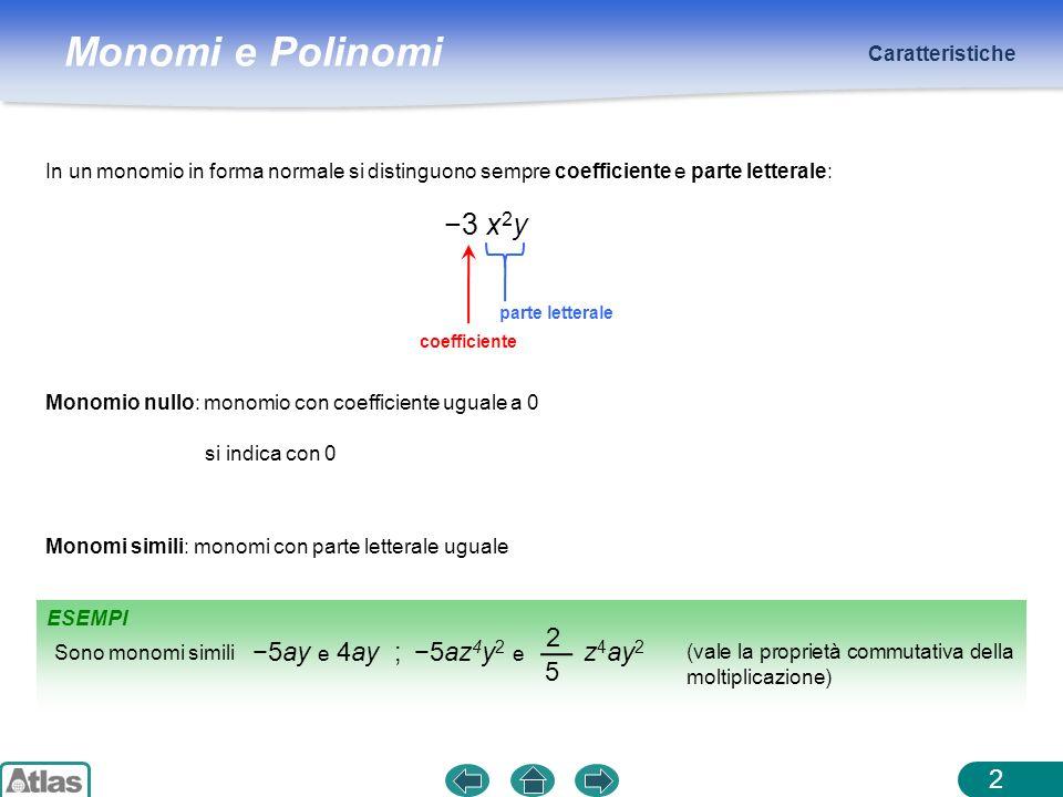 Monomi e Polinomi ESEMPIO Caratteristiche 3 Grado rispetto a una lettera: lesponente con cui quella lettera compare nel monomio (in forma normale) Monomi opposti: monomi simili con coefficienti opposti Grado complessivo di un monomio: somma dei gradi delle lettere che vi compaiono ha grado: 1 + 2 = 3 3x2y3x2y 3x2y3x2y ha grado 2 rispetto alla x e 1 rispetto alla y 8a 2 b e 8a 2 b