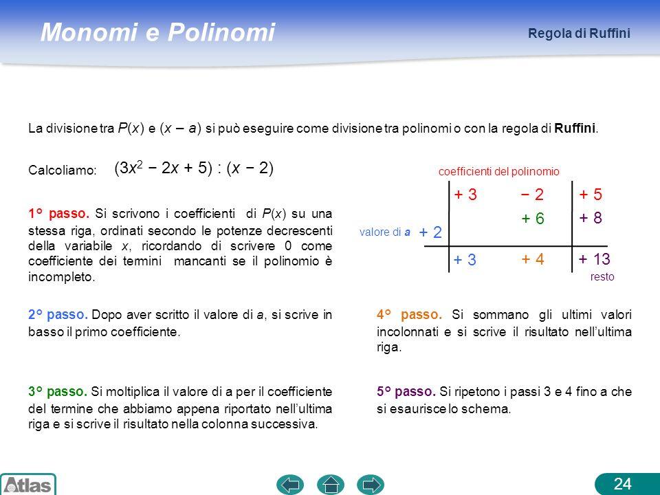 Monomi e Polinomi Regola di Ruffini 24 La divisione tra P(x) e (x – a) si può eseguire come divisione tra polinomi o con la regola di Ruffini. (3x 2 2