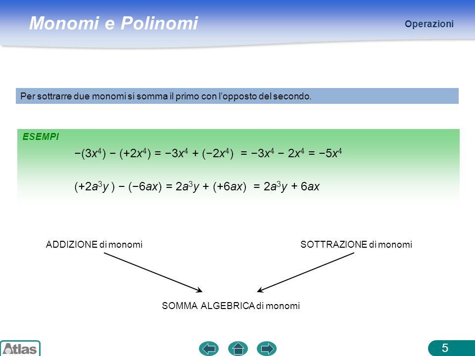 Monomi e Polinomi ESEMPI Operazioni 5 Per sottrarre due monomi si somma il primo con lopposto del secondo. ADDIZIONE di monomi (3x 4 ) (+2x 4 ) = 3x 4