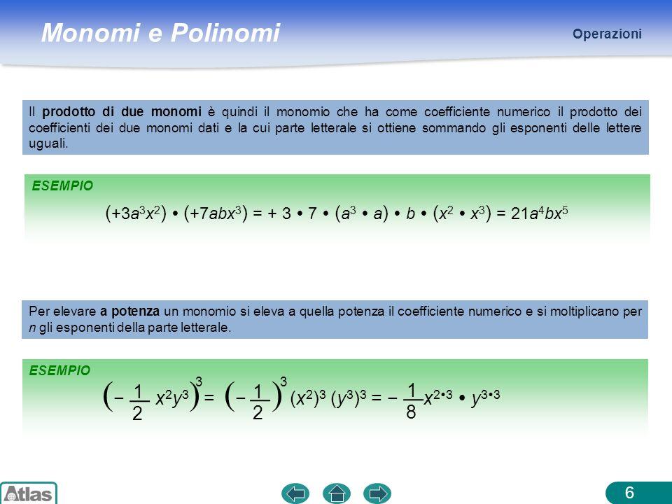Monomi e Polinomi ESEMPIO Operazioni 6 Il prodotto di due monomi è quindi il monomio che ha come coefficiente numerico il prodotto dei coefficienti de