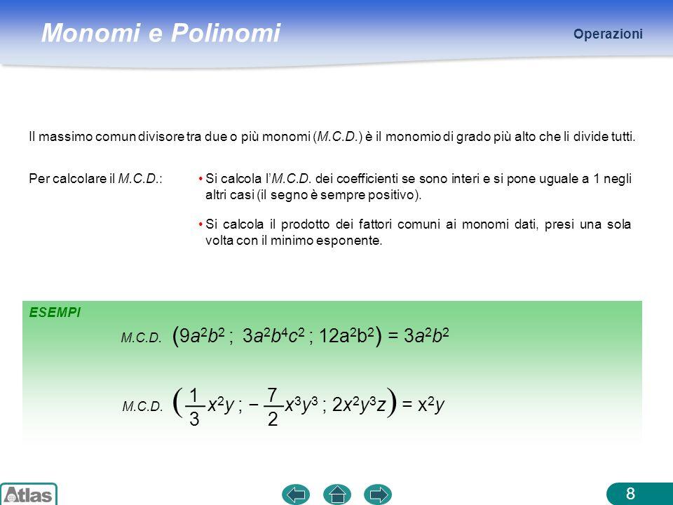 Monomi e Polinomi ESEMPI Operazioni 8 Il massimo comun divisore tra due o più monomi (M.C.D.) è il monomio di grado più alto che li divide tutti. Per