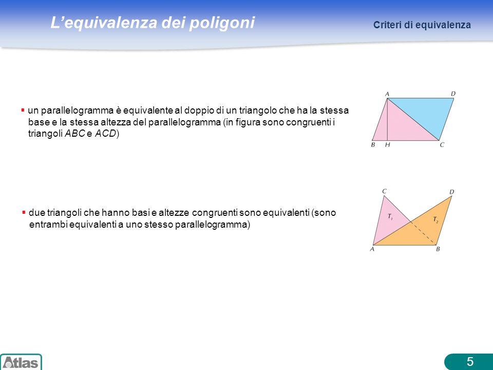 Lequivalenza dei poligoni 5 Criteri di equivalenza un parallelogramma è equivalente al doppio di un triangolo che ha la stessa base e la stessa altezz