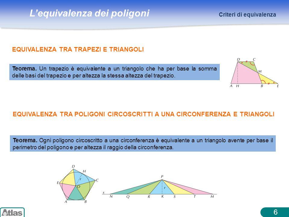 Lequivalenza dei poligoni 6 Criteri di equivalenza EQUIVALENZA TRA TRAPEZI E TRIANGOLI Teorema. Un trapezio è equivalente a un triangolo che ha per ba