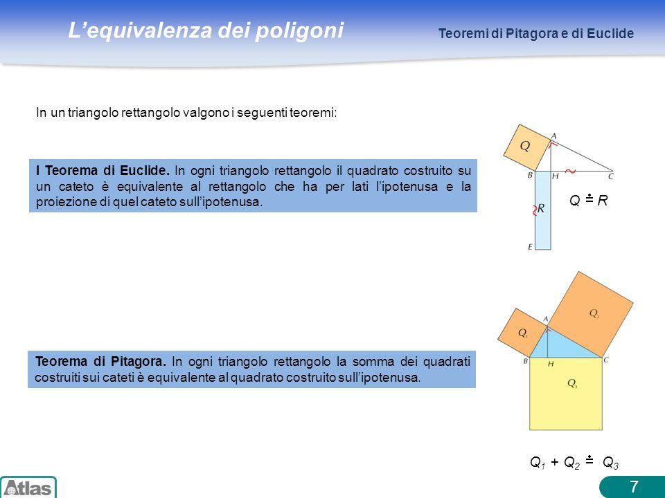 Lequivalenza dei poligoni 8 Teoremi di Pitagora e di Euclide II Teorema di Euclide.