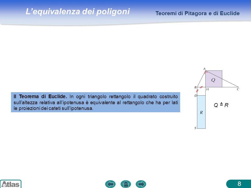 Lequivalenza dei poligoni 8 Teoremi di Pitagora e di Euclide II Teorema di Euclide. In ogni triangolo rettangolo il quadrato costruito sullaltezza rel
