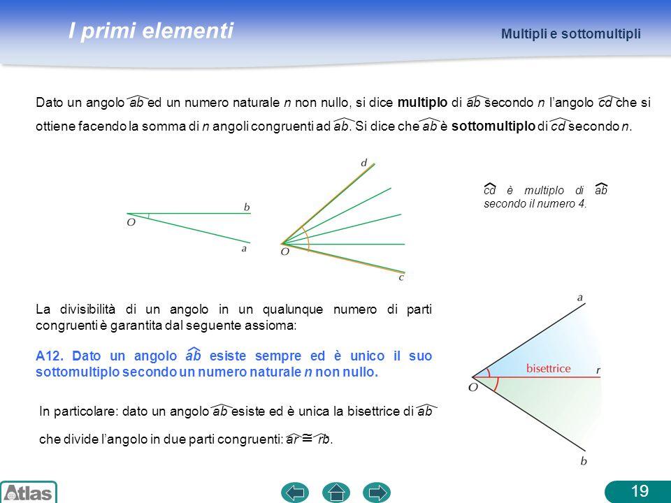 I primi elementi Multipli e sottomultipli 19 La divisibilità di un angolo in un qualunque numero di parti congruenti è garantita dal seguente assioma: