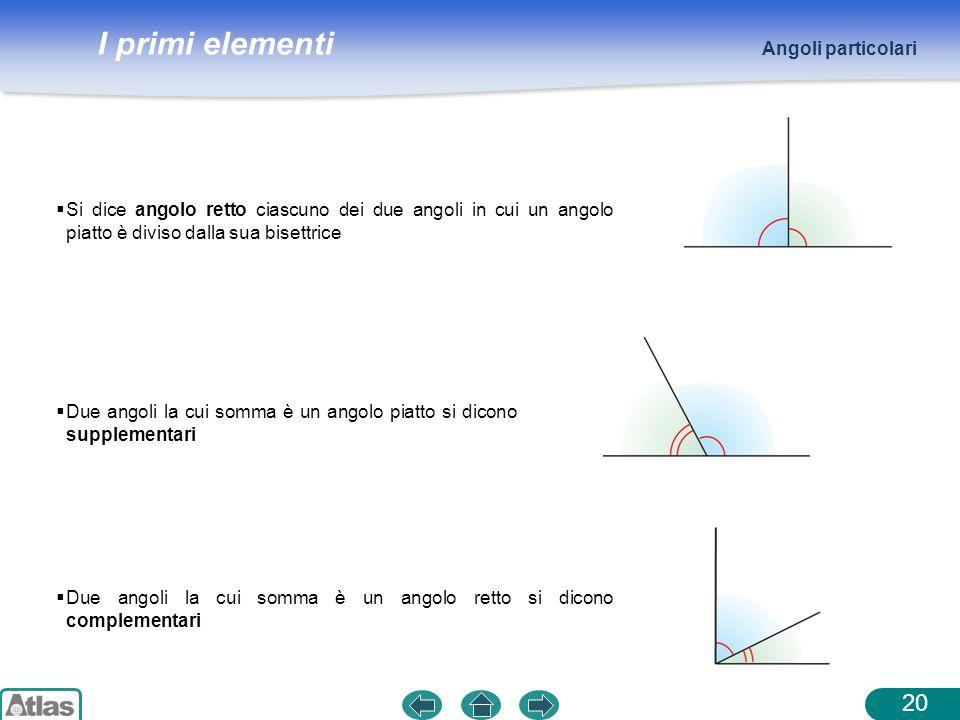 I primi elementi Si dice angolo retto ciascuno dei due angoli in cui un angolo piatto è diviso dalla sua bisettrice Angoli particolari 20 Due angoli l