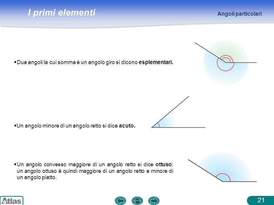 I primi elementi Angoli particolari 21 Un angolo convesso maggiore di un angolo retto si dice ottuso; un angolo ottuso è quindi maggiore di un angolo