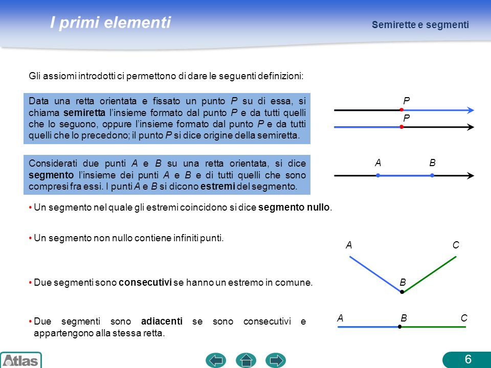 I primi elementi Data una retta orientata e fissato un punto P su di essa, si chiama semiretta linsieme formato dal punto P e da tutti quelli che lo s