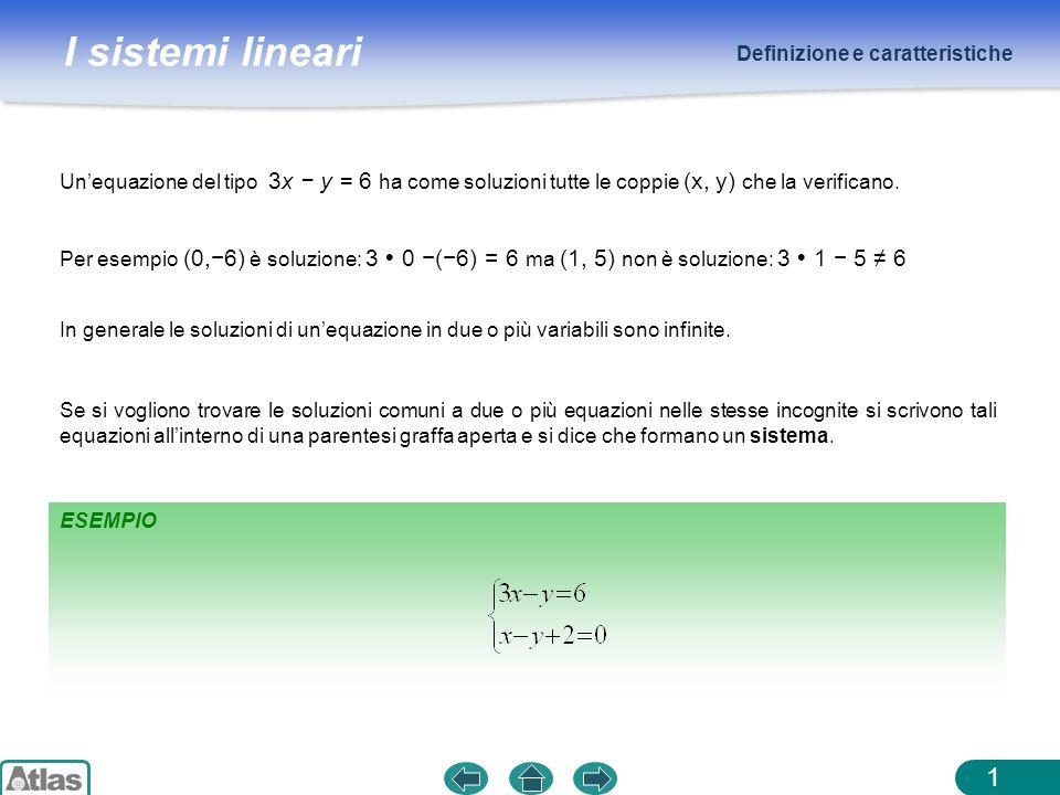 I sistemi lineari Definizione e caratteristiche 1 Unequazione del tipo 3x y = 6 ha come soluzioni tutte le coppie (x, y) che la verificano. Per esempi