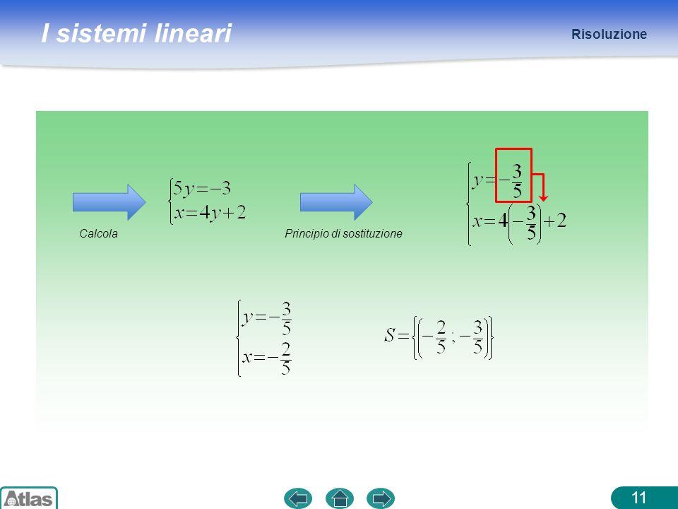 I sistemi lineari Risoluzione 11 CalcolaPrincipio di sostituzione