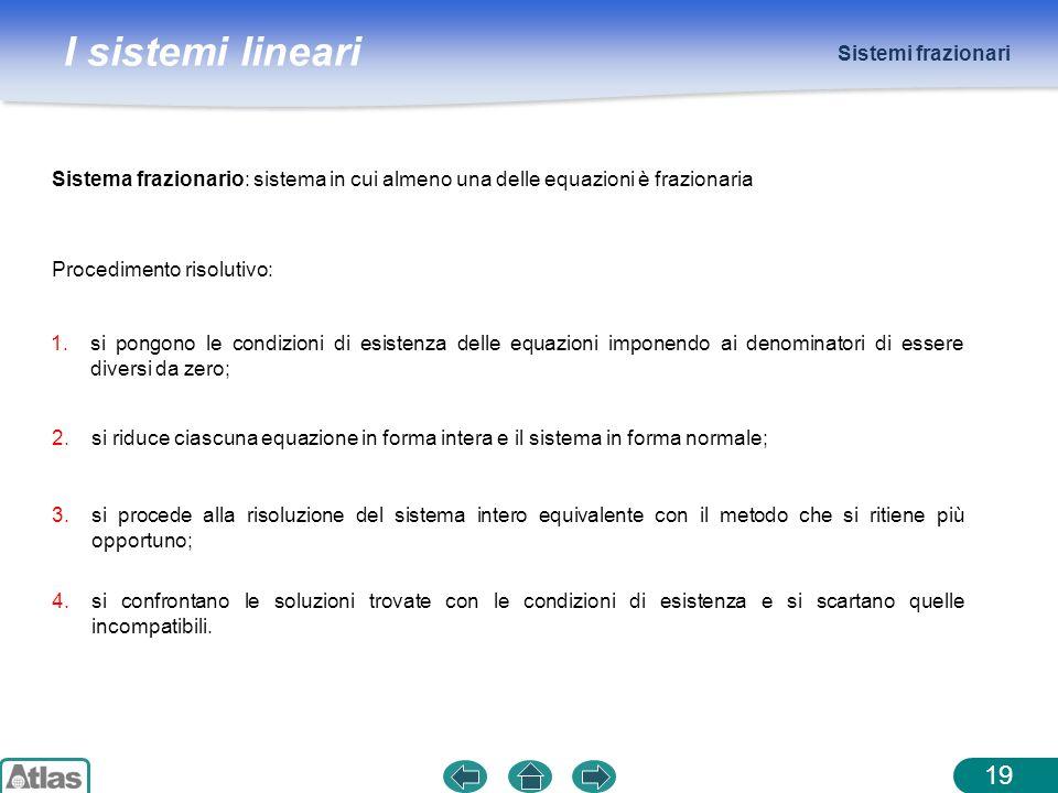 I sistemi lineari Sistemi frazionari 19 Sistema frazionario: sistema in cui almeno una delle equazioni è frazionaria Procedimento risolutivo: 1.si pon