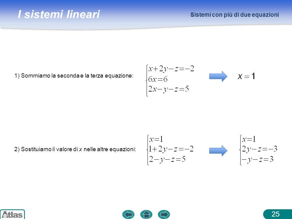 I sistemi lineari Sistemi con più di due equazioni 25 1) Sommiamo la seconda e la terza equazione: 2) Sostituiamo il valore di x nelle altre equazioni