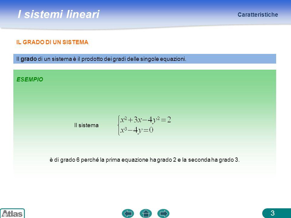 I sistemi lineari Caratteristiche 3 Il grado di un sistema è il prodotto dei gradi delle singole equazioni. ESEMPIO Il sistema IL GRADO DI UN SISTEMA