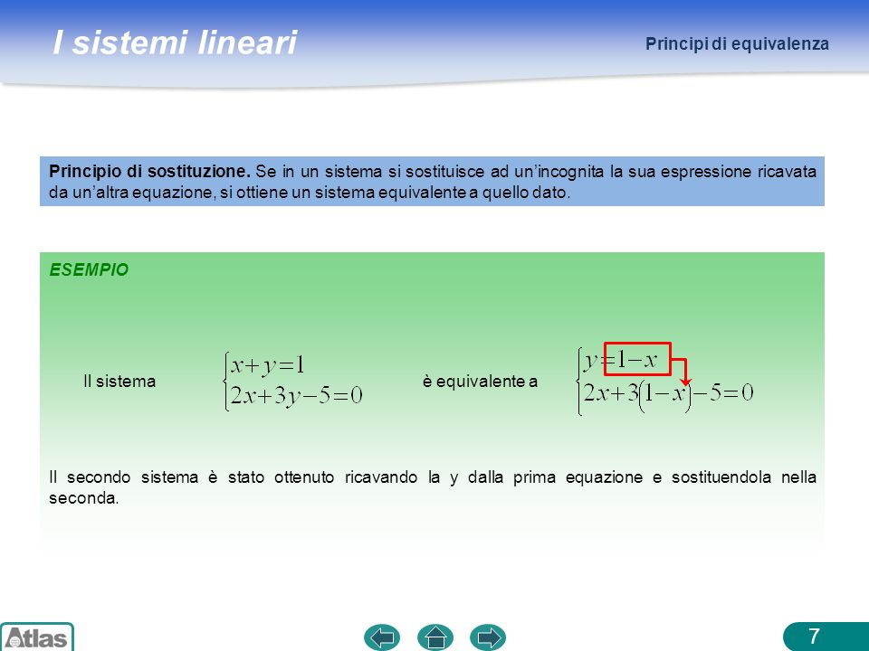 I sistemi lineari Principi di equivalenza 7 ESEMPIO Principio di sostituzione. Se in un sistema si sostituisce ad unincognita la sua espressione ricav