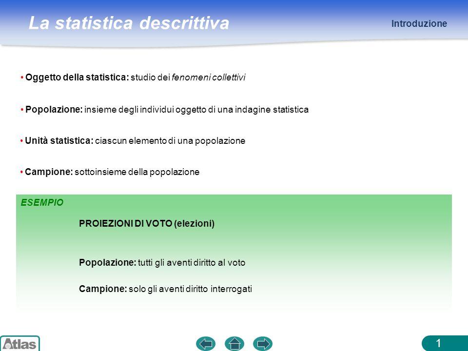 La statistica descrittiva ESEMPIO Introduzione 1 Oggetto della statistica: studio dei fenomeni collettivi Popolazione: insieme degli individui oggetto