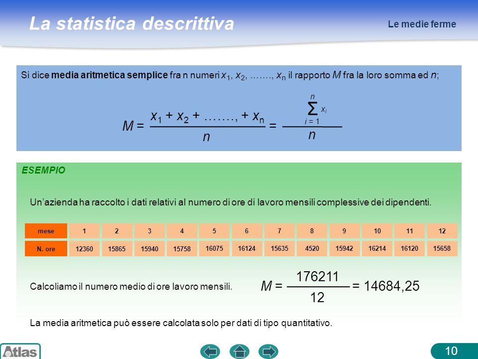 La statistica descrittiva Le medie ferme 10 Si dice media aritmetica semplice fra n numeri x 1, x 2, ……., x n il rapporto M fra la loro somma ed n ; x