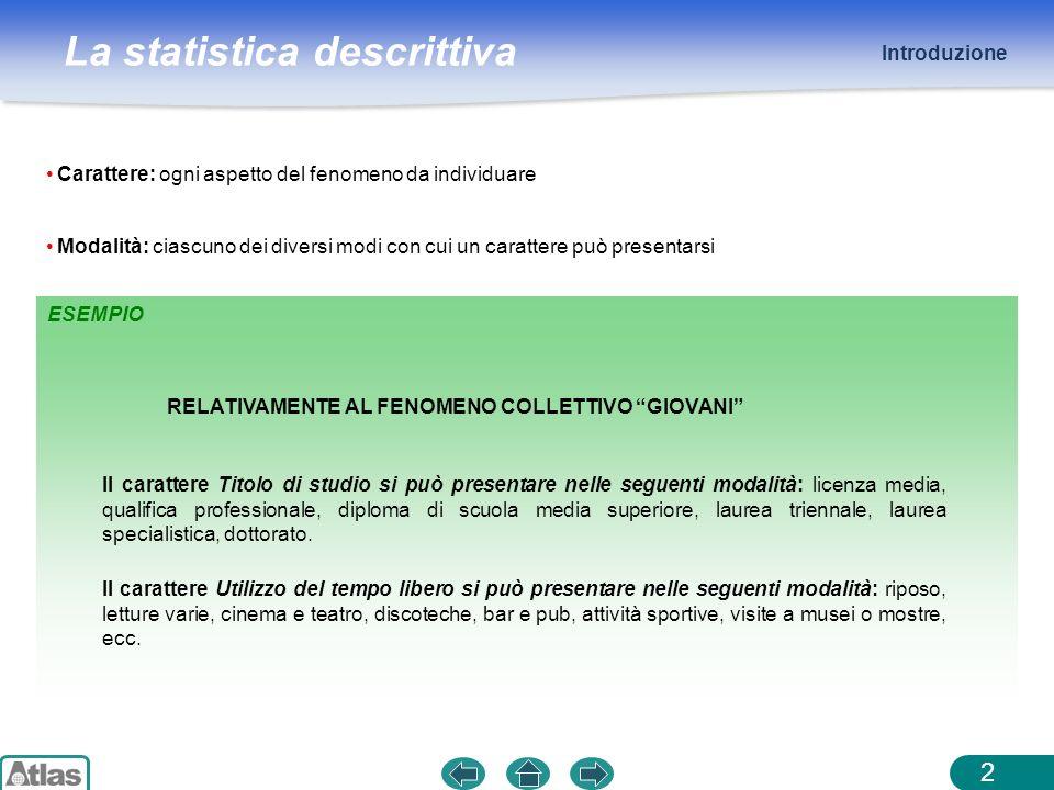 La statistica descrittiva ESEMPIO Introduzione 2 Carattere: ogni aspetto del fenomeno da individuare Modalità: ciascuno dei diversi modi con cui un ca