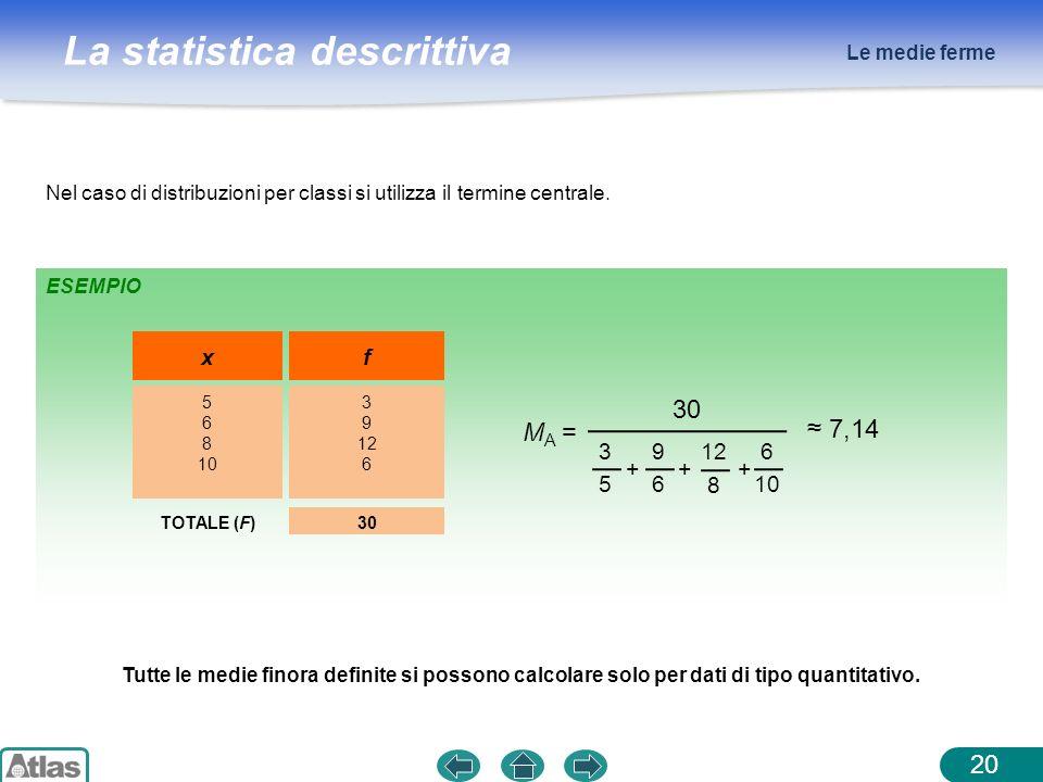 La statistica descrittiva Le medie ferme 20 Nel caso di distribuzioni per classi si utilizza il termine centrale. ESEMPIO x 5 6 8 10 f 3 9 12 6 TOTALE