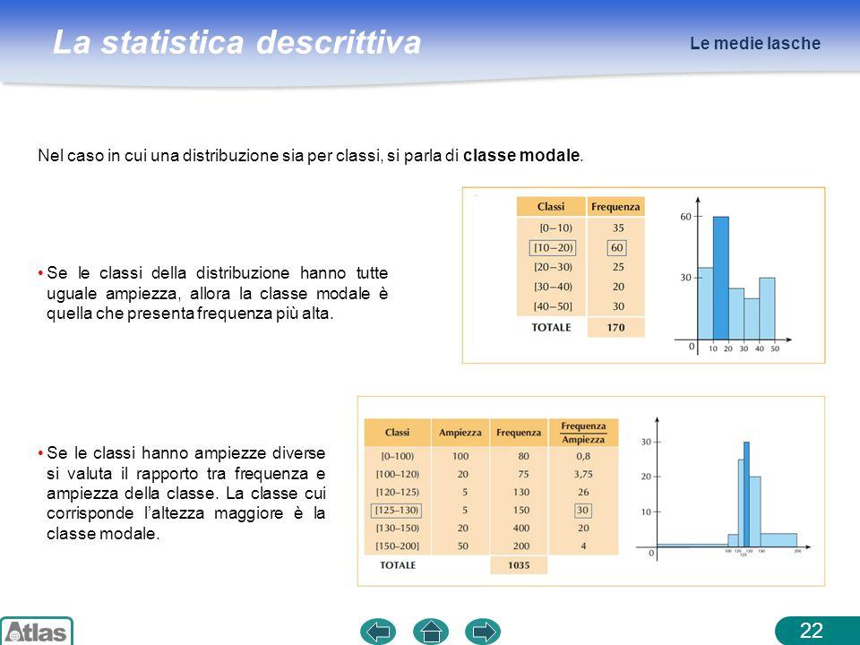 La statistica descrittiva Le medie lasche 22 Nel caso in cui una distribuzione sia per classi, si parla di classe modale. Se le classi della distribuz