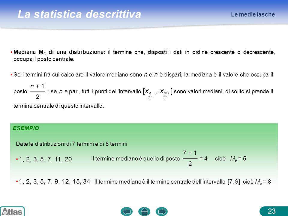 La statistica descrittiva ESEMPIO Le medie lasche 23 Mediana M C di una distribuzione: il termine che, disposti i dati in ordine crescente o decrescen