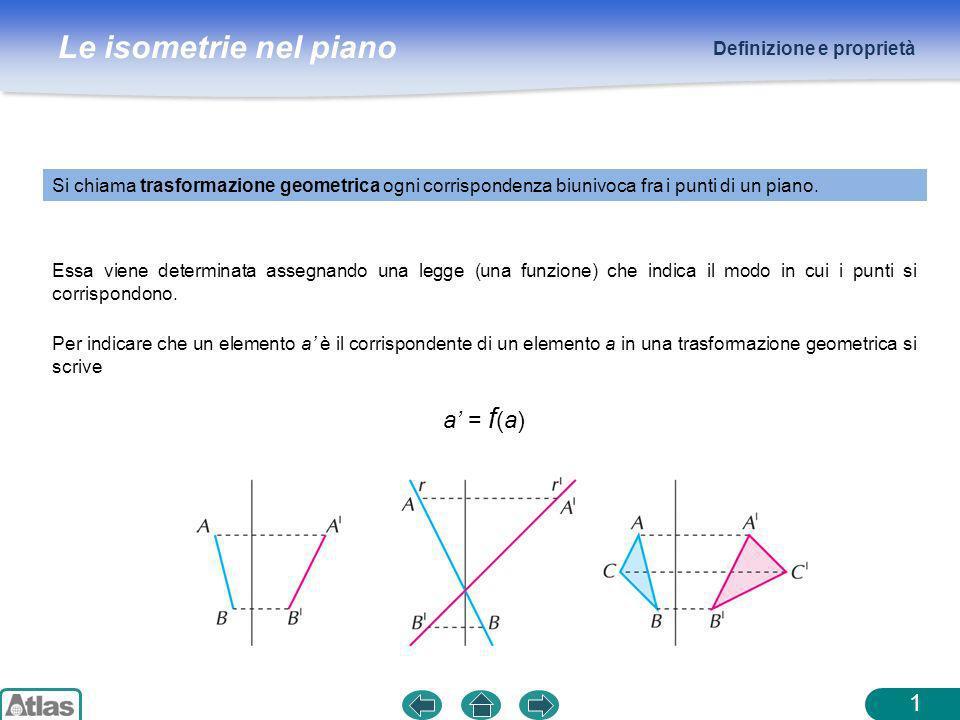 Le isometrie nel piano Definizione e proprietà 1 Si chiama trasformazione geometrica ogni corrispondenza biunivoca fra i punti di un piano. Essa viene