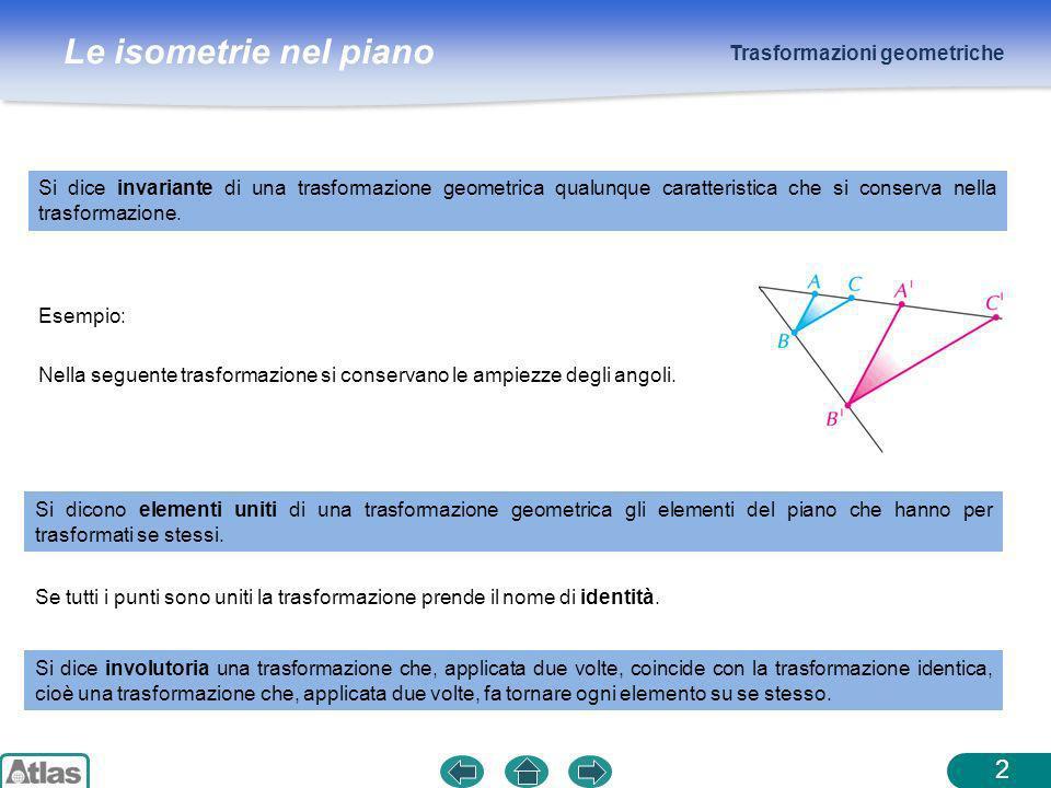Le isometrie nel piano Trasformazioni geometriche 2 Si dice invariante di una trasformazione geometrica qualunque caratteristica che si conserva nella