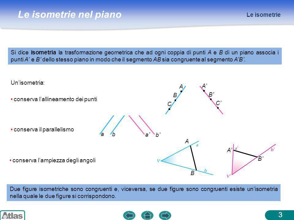 Le isometrie nel piano A B A B Le isometrie 3 Si dice isometria la trasformazione geometrica che ad ogni coppia di punti A e B di un piano associa i p