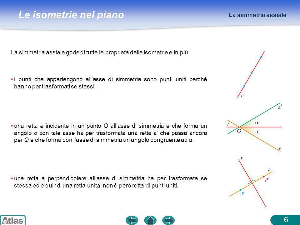 Le isometrie nel piano La simmetria assiale 6 La simmetria assiale gode di tutte le proprietà delle isometrie e in più: i punti che appartengono allas
