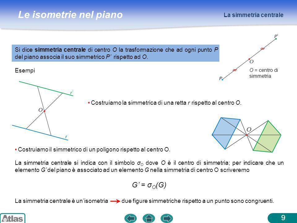 Le isometrie nel piano La simmetria centrale 9 Si dice simmetria centrale di centro O la trasformazione che ad ogni punto P del piano associa il suo s
