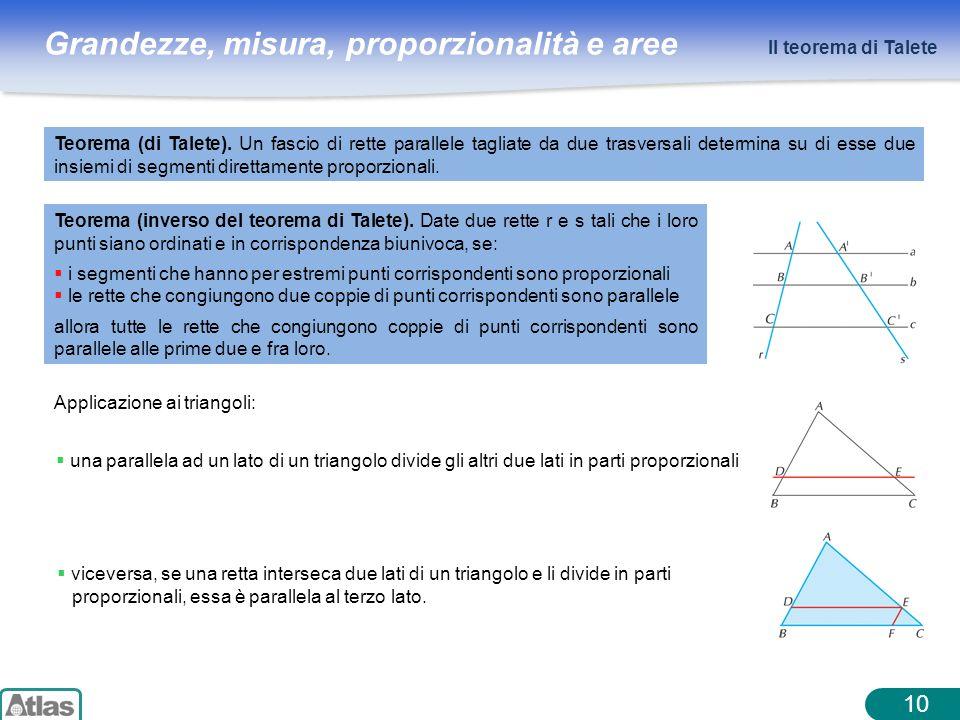 Grandezze, misura, proporzionalità e aree 10 Il teorema di Talete Applicazione ai triangoli: Teorema (di Talete). Un fascio di rette parallele tagliat