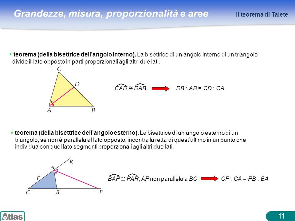 Grandezze, misura, proporzionalità e aree 11 Il teorema di Talete teorema (della bisettrice dellangolo interno). La bisettrice di un angolo interno di