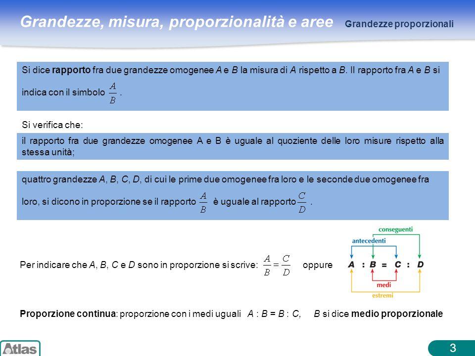Grandezze, misura, proporzionalità e aree 3 Grandezze proporzionali Si verifica che: il rapporto fra due grandezze omogenee A e B è uguale al quozient